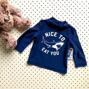 Baby boy size 0 OSHKOSH B' GOSH long sleeve navy blue swim rash vest or Rashie